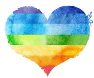 Watercolor rainbow heart with a lace edge. Watercolor rainbow heart with light and shade, painted by hand Stock Photo