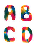 Watercolor rainbow letters Royalty Free Stock Photo