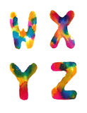Watercolor rainbow letters Stock Photo