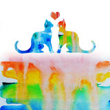 Watercolor rainbow love cats Royalty Free Stock Photos