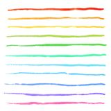 Watercolor rainbow stripes strokes hand drawn vector brushes kit. Watercolor rainbow colorful stripes strokes hand drawn vector brushes kit stock illustration