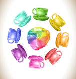 Watercolor rainbow vector frame with cups. Stock Image