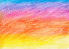 Watercolor rainbow wheat landscape Stock Image