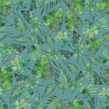 Watercolor rainforest leaves seamless pattern royalty free illustration