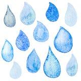 Watercolor rainy drops textured background macro Royalty Free Stock Image