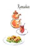 Watercolor Ramadan και τουρκικό τσάι με το τουρκικό baklava Στοκ Φωτογραφίες
