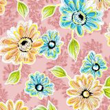 Watercolor raster flower pattern. TRADITIONAL WATERCOLOR FLOWER on pink stock illustration