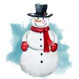 Watercolor raster hand drawn snowman Royalty Free Stock Image