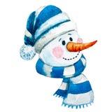 Watercolor raster hand drawn snowman Royalty Free Stock Photos