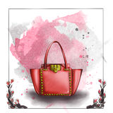 Watercolor raster illustration of a designer bag Stock Photography