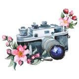Watercolor raster illustration of vintage camera and flower. royalty free illustration