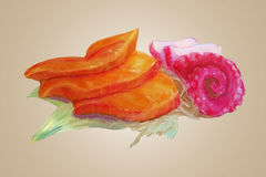 Watercolor raw salmon and tako vector Royalty Free Stock Photo