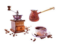 Watercolor realistic coffee ibrik with coffee cup isolated Stock Photography