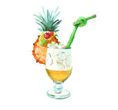 Watercolor realistic pineapple ice cocktail isolated Royalty Free Stock Image