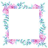 Watercolor rectangular floral frame. Template for design. Perfect for wedding invitations, greeting cards, natural. Watercolor rectangular floral frame. Template vector illustration