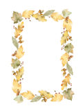 Watercolor rectangular frame of leaves and branches isolated on white background. Royalty Free Stock Photography