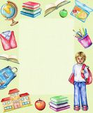 Watercolor rectangular frame with school subjects and boy royalty free illustration