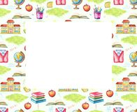 Watercolor rectangular frame with school subjects royalty free illustration