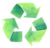 Watercolor recycle symbol. Painted watercolor recycle sign isolated on white royalty free illustration