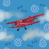 Watercolor red airplane on blue sky illustration with computer processing. view of a flying plane. Watercolor red airplane on blue sky illustration with vector illustration
