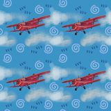 Watercolor red airplane on blue sky illustration with computer processing. view of a flying plane. Watercolor red airplane on blue sky illustration with stock illustration