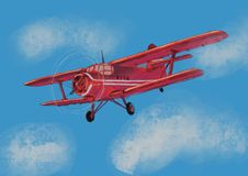 Watercolor red airplane on blue sky illustration with computer processing. view of a flying plane. Watercolor red airplane on blue sky illustration with royalty free illustration
