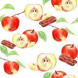 Watercolor with red apples and cinnamon. Watercolor seamless background with red apples and cinnamon stock illustration