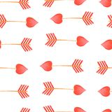 Watercolor red arrow pattern Arrows Valentines Day Elements vector illustration