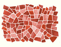 Watercolor red background in vector. Stained-glass window backdrop in aquarelle style Stock Photo