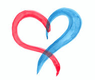 Watercolor red blue heart lovely grunge background Stock Photo