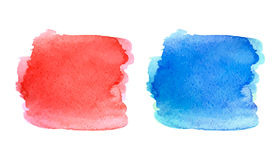 Watercolor red and blue stain Stock Photography