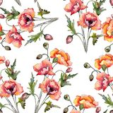 Watercolor red bouquet of poppy flower. Floral botanical flower. Seamless background pattern. Fabric wallpaper print texture. Aquarelle wildflower for stock illustration