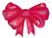 Watercolor red bow. For background Stock Image