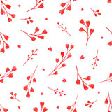 Watercolor red branches. With hearts, vector seamless pattern Stock Illustration