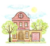 Watercolor red brick cartoon fire station building surrounded landscape. Red brick cartoon fire station building surrounded by trees, bushes, grass, sky and sun stock illustration