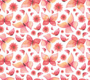 Watercolor Red Butterflies and Flowers Seamless Pattern Stock Images
