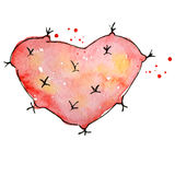 Watercolor red cactus in a shape of the heart Abstract hand drawn cacti Royalty Free Stock Image