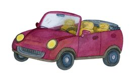 Watercolor red car. Handmade illustration royalty free illustration