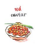 Watercolor red caviar Stock Photos