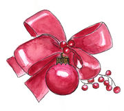 Watercolor red Christmas decoration Stock Images