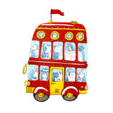 Watercolor red double-decker animal kids bus. Royalty Free Stock Photos