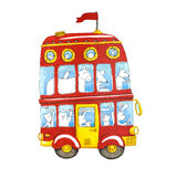 Watercolor red double-decker animal kids bus. Stock Photo