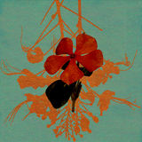 Watercolor red flower on blue washed paper Royalty Free Stock Photography