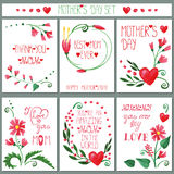 Watercolor red flowers card set.Mothers day Stock Photos