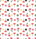 Watercolor Red Flowers And Green Dots Seamless Pattern Stock Images