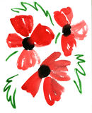 Watercolor red flowers impression painting. In white background Royalty Free Illustration