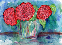 Watercolor red flowers. Stock Photo