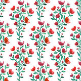 Watercolor red flowers seamless pattern. Fashion background. Can be used for wrapping, textile, wallpaper and package Stock Images