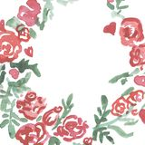 Watercolor red flowers wreath.Floral frame, Illustration hand painted. Isolated on white background. vector illustration