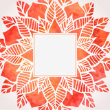 Watercolor red frame with floral pattern. Vector element Royalty Free Stock Images